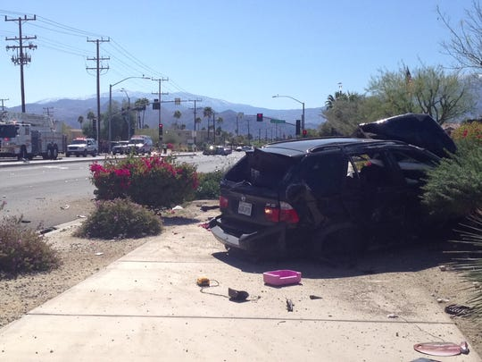A BMW SUV was destroyed in a collision with a BMW sedan Wednesday on Sunrise Way in Palm Springs. Its driver suffered life-threatening injuries.
