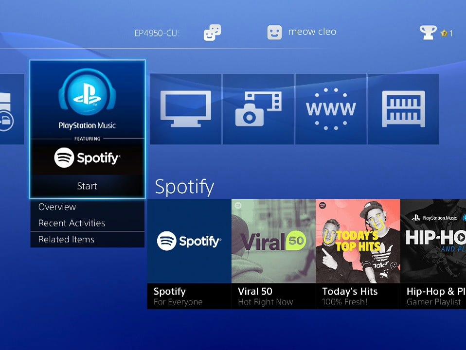 PlayStation music features Spotify