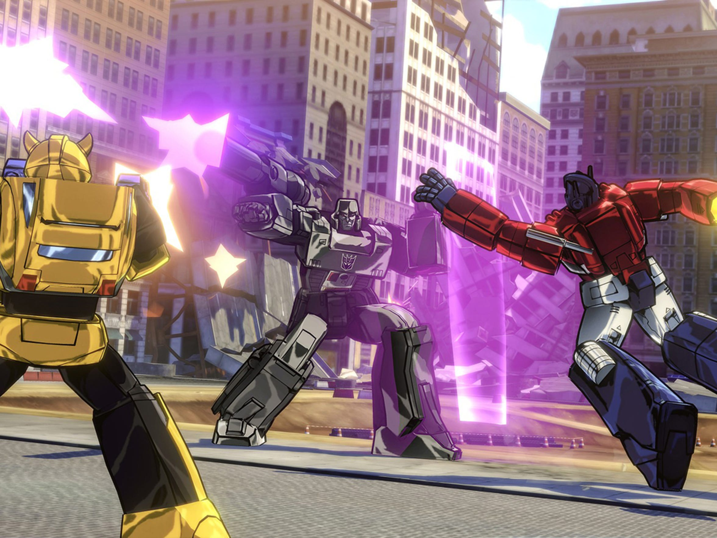 "Autobots wage their battle to destroy the evil forces of the Decepticons in ""Transformers: Devastation."""
