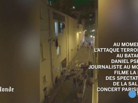 Le Monde journalist Daniel Psenny filmed from his window the injured who tried to escape via a back entrance of the Bataclan concert venue.