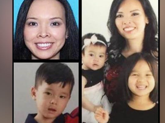 Christine Woo and children Lauren, 5, Nathan, 3, and