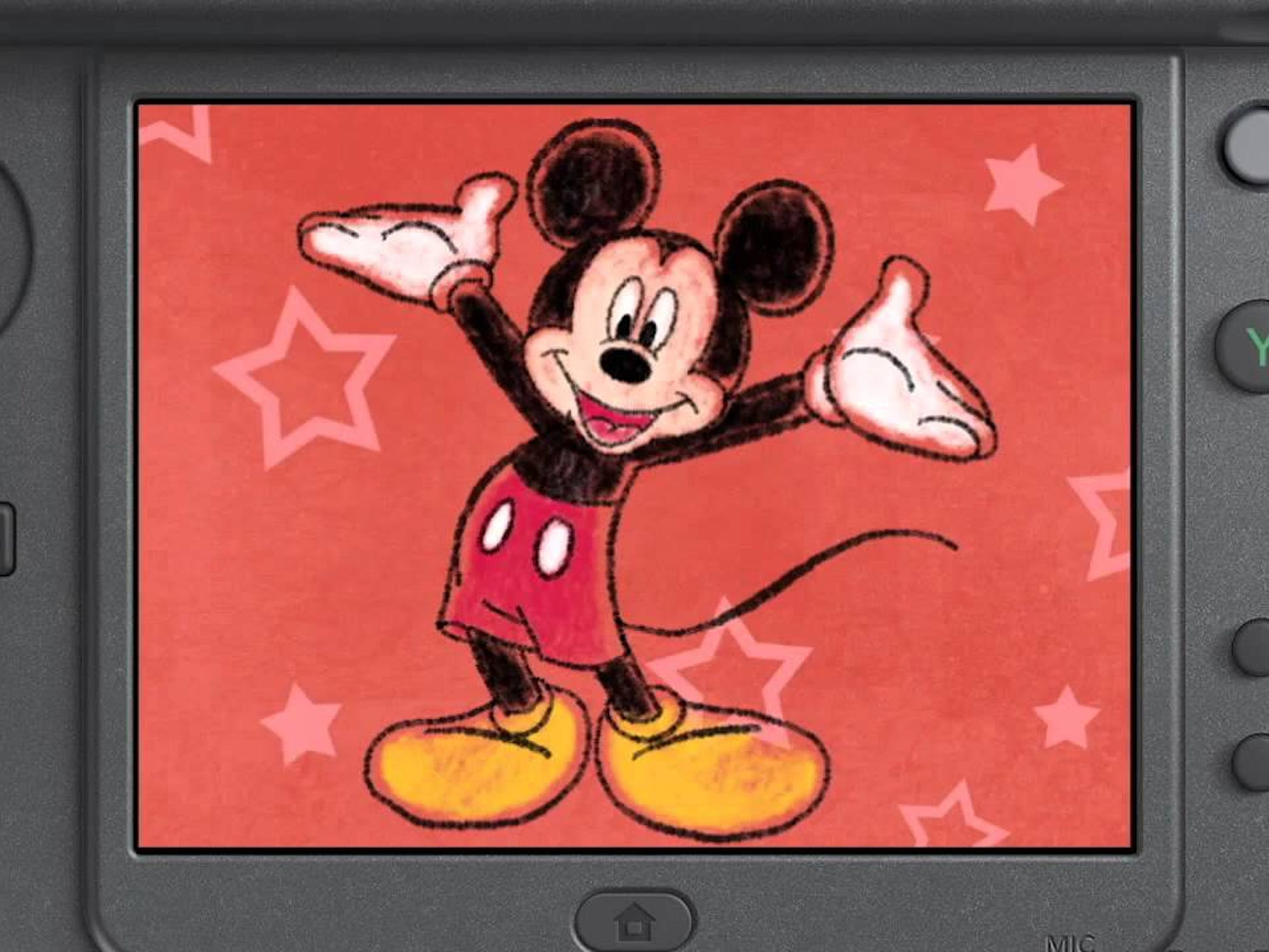 Draw characters such as Mickey Mouse in Disney Art Academy.