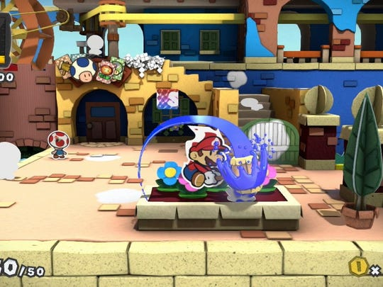 "Use your hammer to acquire paint from objects or to add color to spots in need of them in ""Paper Mario: Color Splash."""