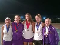 Lancaster Catholic players – Elizabeth Baker (doubles champ / AA 5th place), Riley Smith (AA 1st place), Isabel Midcap (AA 2nd place), Meredith DeBord (doubles champ), Emily Baker (AA 3rd place)