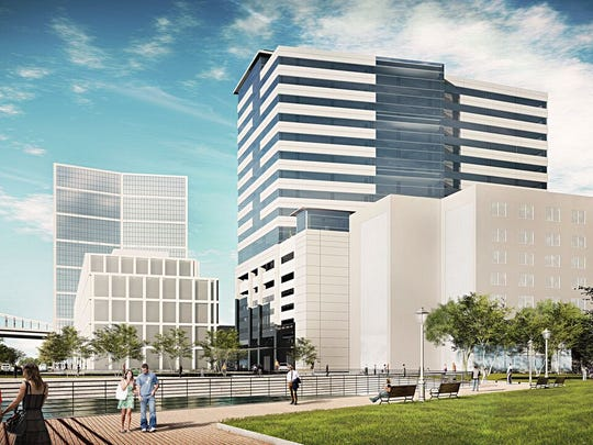 Three South Jersey firms would share space at a proposed 18-story structure on Camden's Waterfront.
