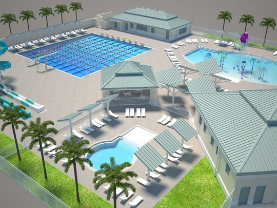 A 3-D image of Eagle Lakes Community pool.