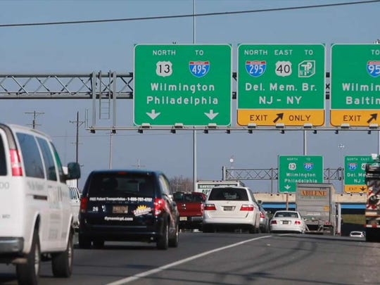 Vehicles on U.S. 13 approach the interchange with I-295 in 2015. The interstate bridge over the U.S. 13 will be reduced to one lane in the southbound direction on Thursday.