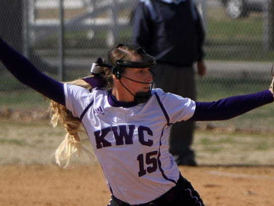 Maci Brown prepares to throw a pitch for Kentucky Wesleyan College.