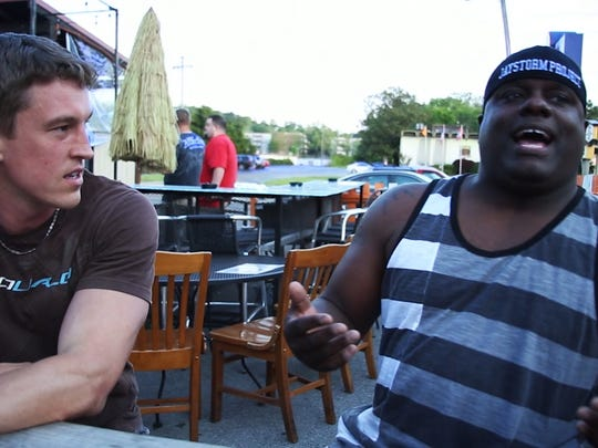 "Adam Shepard and Knoxville musician Jaystorm in a scene from ""American Dream,"" a documentary filmed in Knoxville."