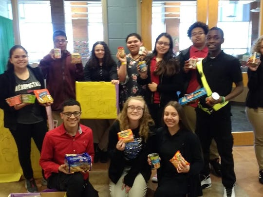 Members of Wallace Middle School's National Junior Honor Society collected canned goods for a local food bank, Soup for the Soul.