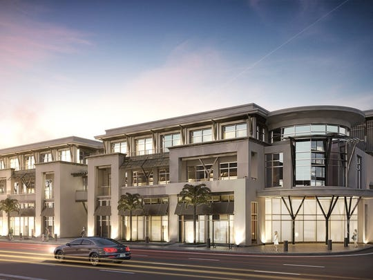 A rendering shows the plan for about 50,000 square feet of commercial and retail space at the site of the former St. George and the Dragon restaurant in downtown Naples.