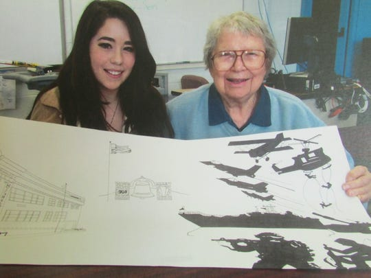 Butler High School 1947 graduate Beatrice Card Kettlewood (right) in collaboration with student Alexandra Leet designed the school's Mission Honor Monument.