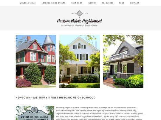 A screen shot of the Newtown Historic Neighborhood website.
