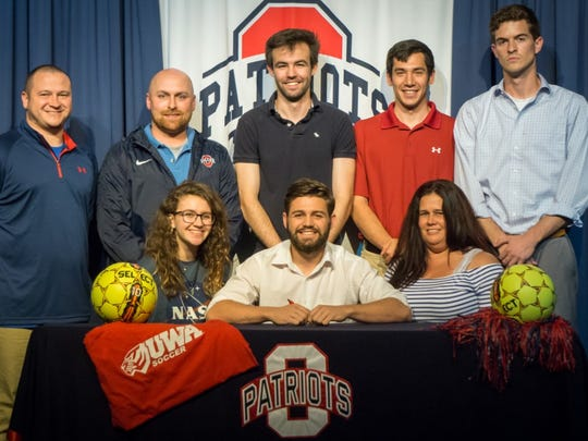 Oakland soccer standout Jakob Hurst recently signed with University of West Alabama. Pictured in the front row are Hailey Hurst and Jennifer Hurst. In the back row (l-r) are OHS coach Jeff Boynton, OHS coach Jeff Porter, Tristan Brown, Peter Yasso and Coach Austin Wilson.