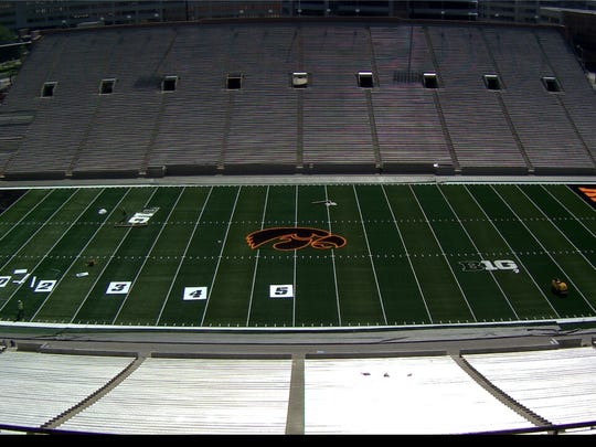 The Tiger Hawk logo at Kinnick Stadium is fully in place, as this image from video provided by the university affirms.