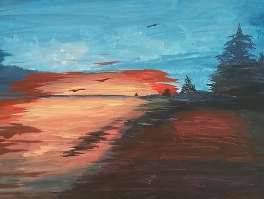 """""""Maine Sunset"""" by Suze Wright, acrylic"""