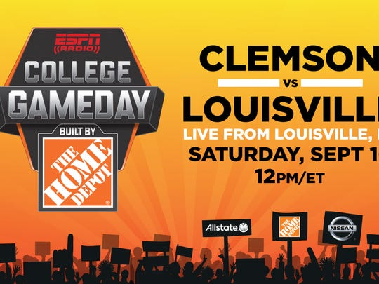 """A graphic of ESPN Radio's """"College GameDay"""" for Louisville football's Sept. 16 showdown with Clemson."""