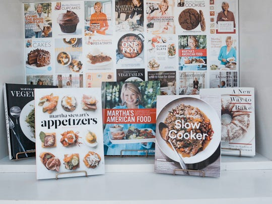 """A display of cookbooks is seen in the Martha Stewart Experience tent, which will be recreated during the Ventura County Star Food & Wine Experience Oct. 1 in Ventura. Stewart will demonstrate recipes from her newest title, """"Slow Cooker,"""" during the event."""