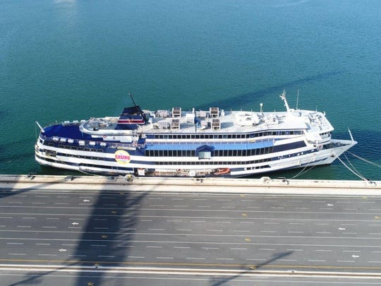 The Victory I gambling ship was moved to Port Canaveral's North Cargo Berth 6 prior to Hurricane Irma.