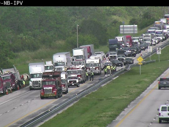 Traffic continues to be backed up after a tanker truck