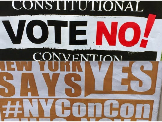 "Vote No! signs seem to outnumber the ""Yes"" signs, at"