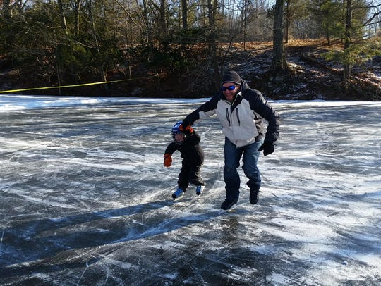 Ice skating is now available on the ponds at Colonial