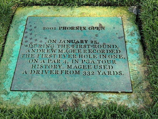 A plaque near the 17th tee box at TPC Scottsdale commemorates