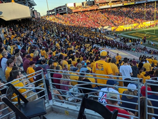 Fans watch the 2017 ASU-Arizona game at Sun Devil Stadium