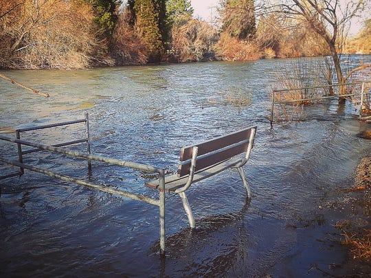 A portion of Crissie Caughlin Park floods on April