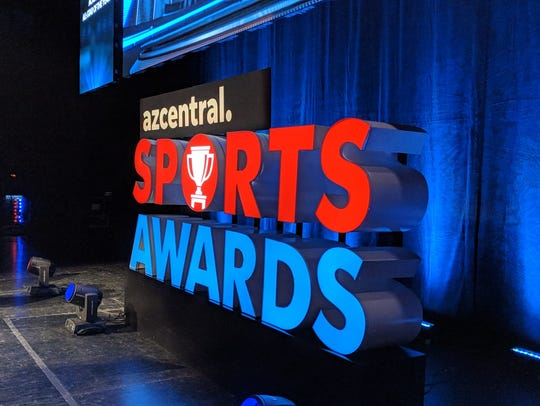 The azcentral Sports Award logo sits on stage 3 hours