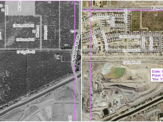 Left image: Pictured are the citrus groves in 1998 on the land where Vulcan Materials and Lehi Crossing now exist. Right: A portion of Lehi Crossing in 2016, the housing development well underway. Vulcan Materials, home to an asphalt plant as well as a sand and gravel pit, is to the north of the homes.