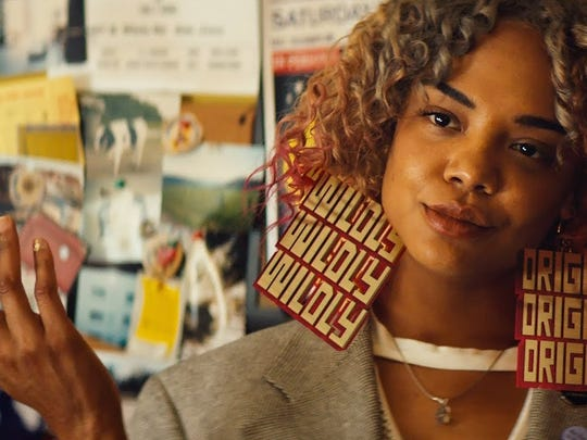 "Tessa Thompson sports some wild earrings in the societal comedy ""Sorry To Bother You."""