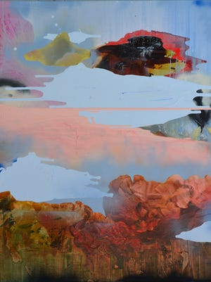 Rachel Stiff What's up with the sky?  2014  Mixed media 50 in. x 44 in.