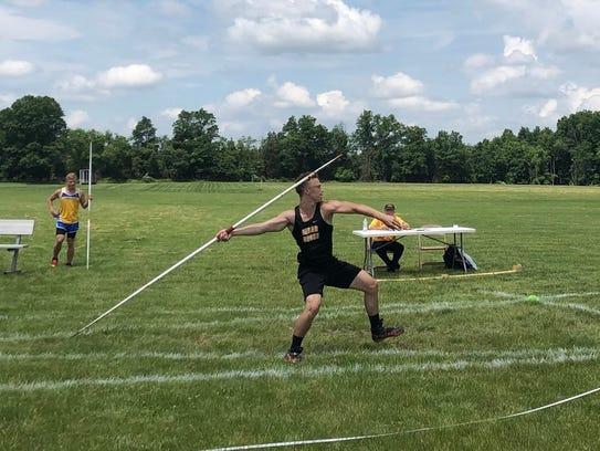 Cedar Grove's Sawyer Moe won the Group 1 title in javelin