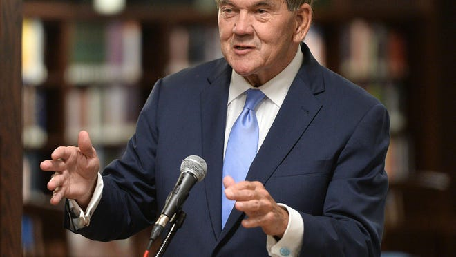 Tom Ridge, former Secretary of Homeland Security and Pennsylvania governor, speaks Oct. 7, 2019, at the Hammermill Library at Mercyhurst University.