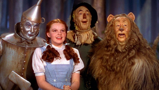 """Jack Haley (from left), Judy Garland, Ray Bolger and Bert Lahr star in MGM's 1939 classic """"The Wizard of Oz."""""""
