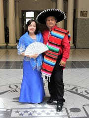 Jackson International Food and Art Festival Committee Co-Chairs Sandra Dee and Eduardo Morales pose at City Hall.