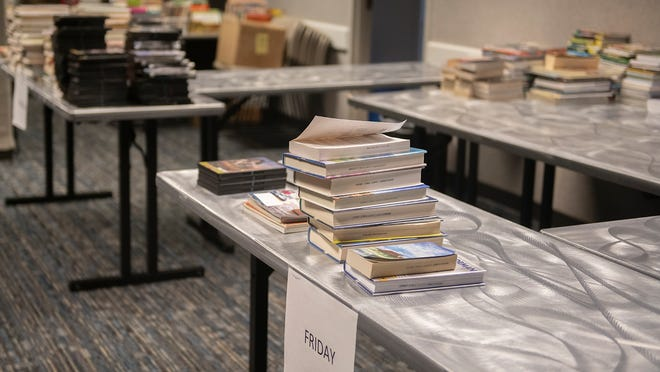 Returned books getting ready to be put back into circulation at the Nordonia Hills Branch Library.