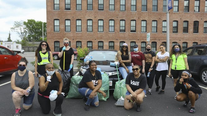 A group of 12 Brockton women came out to clean up on Wednesday, June 3, 2020 after demonstrations Tuesday night turned destructive.
