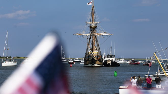 Hundreds came out to watch the Mayflower II return to Plymouth Harbor on Monday, Aug. 10, 2020. The ship spent two years in Mystic Seaport, CT for restorations.