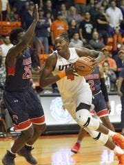 Tirus Smith, shown here driving to the basket against Howard, played for UTEP in the 2017-18 season. He is now committed to UL.
