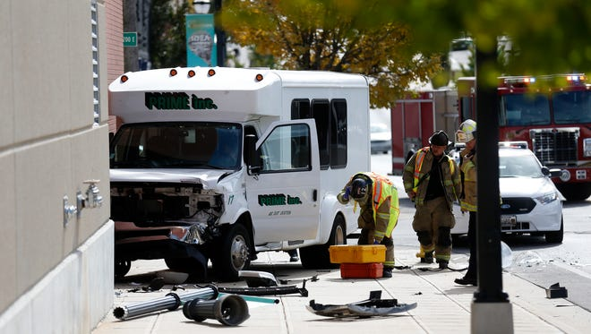 A Prime Inc. shuttle bus was involved in an accident with a car on North Boonville Avenue that sent two people to the hospital on Friday afternoon.