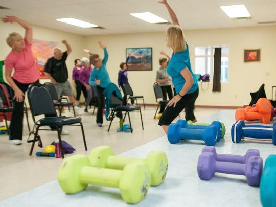 Instructor Sherri Jeska guides her class at MountainView Senior Circle. The one hour workouts are Monday, Wednesday and Friday at 8:30 a.m. The program also has health lectures, monthly meals, movies and other perks for members.
