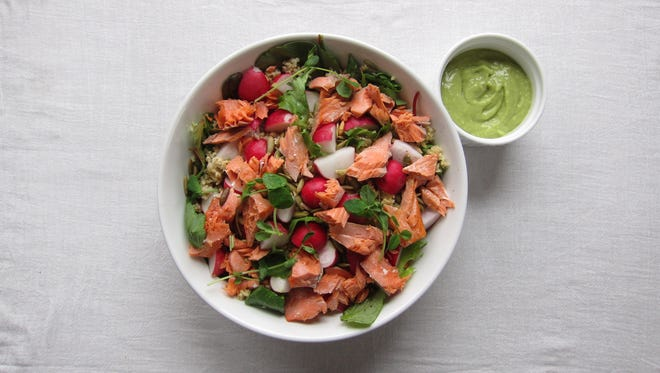 Power Up Salad with Avocado Ginger Dressing is packed with nutrients needed for an active lifestyle.