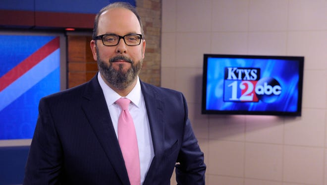 KTXS anchorman George Levesque on his last day at the station. Levesque starts Friday as the development director of the Paramount Theatre and will become executive director June 1.