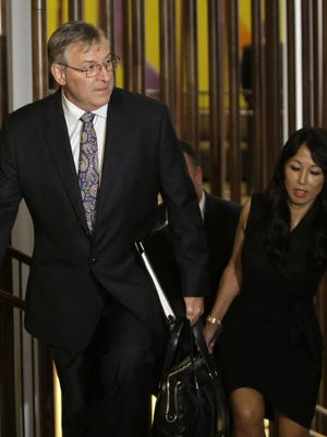 Terry and Kim Pegula arrive for a meeting of NFL owners and executives in New York on Wednesday.