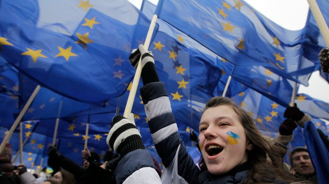Ukrainian students shout during a rally in Kiev on Nov. 28 to support European Union integration.