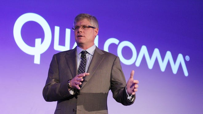 Quallcomm CEO Steve Mollenkopf speaks during a news conference at the Consumer Electronics Show press day on Monday, Jan. 6, 2014, in Las Vegas.  Qualcomm said Thursday it has acquired patents once owned by smartphone maker Palm from Hewlett-Packard for an undisclosed amount.