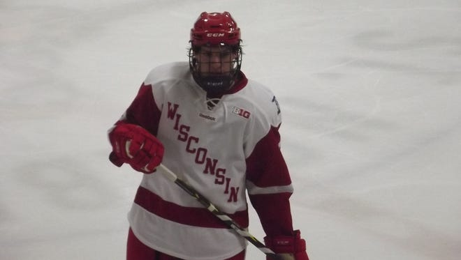 De Pere native and Notre Dame Academy graduate Tim Davison returned to the Cornerstone Community Center in Ashwaubenon on Saturday for the Badgers' Red-White hockey scrimmage.