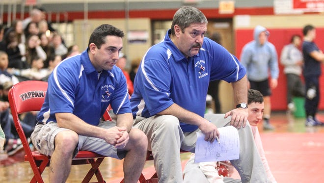 Pearl River wrestling coach Grier Yorks, right, at the Rockland County Wrestling Championships at Tappan Zee High School in Orangburg on Saturday, January 28, 2017.